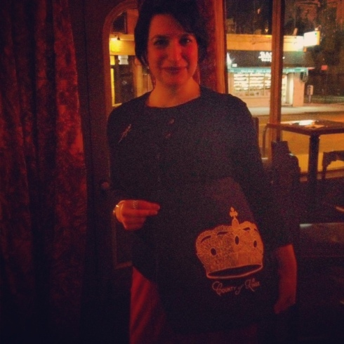 Amanda with her winnings-- a BQT Shirt Tote Bag!
