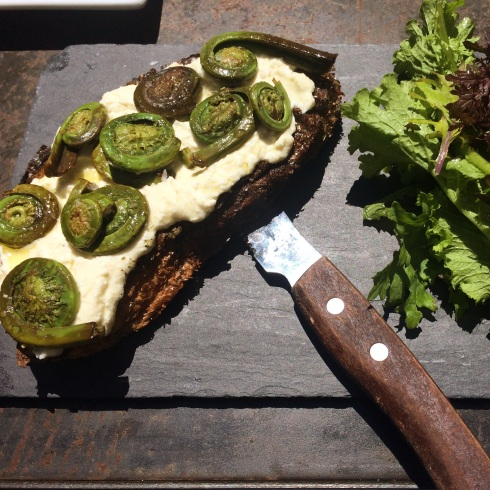 Fiddlehead Toast with Homemade Ricotta